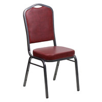 Flash Furniture FD-C01-SILVERVEIN-BURG-VY-GG Hercules Burgundy Vinyl Crown Back Stackable Banquet Chair with Silver Vein Frame