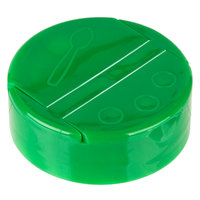 Choice Green Dual-Flapper Pour / Shake Spice Container Lid with a 53/485 Finish