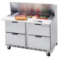 Beverage Air SPED48-18M-4 48 inch 4 Drawer Mega Top Refrigerated Sandwich Prep Table