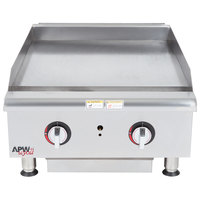 APW Wyott HMG-2424 Natural Gas 24 inch Heavy Duty Countertop Griddle with Manual Controls - 64,000 BTU