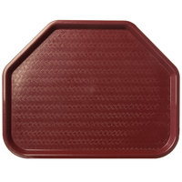 Carlisle CT1713TR61 Customizable Cafe 14 inch x 18 inch Burgundy Trapezoid Plastic Fast Food Tray - 12/Case