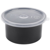 Carlisle 030003 0.6 Qt. Black Classic Crock with Lid - 12/Case