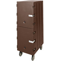 Cambro 1826DBCSP131 Camcart Dark Brown Double Compartment Food Storage Box Carrier with Security Package