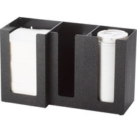 Cal-Mil 375-13 3 Section Black Cup / Lid / Napkin Organizer - 13 1/4 inch x 5 1/4 inch x 8 inch