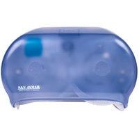 San Jamar R3600TBL Versatwin Double Roll Standard Toilet Tissue Dispenser - Arctic Blue