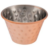 Choice 4 oz. Hammered Copper-Plated Stainless Steel Round Sauce Cup - 12/Pack