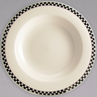Homer Laughlin by Steelite International Black Checkers 20 oz. Creamy White / Off White China Pasta Bowl - 12/Case