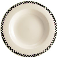 Homer Laughlin Black Checkers 20 oz. Creamy White / Off White China Pasta Bowl - 12/Case