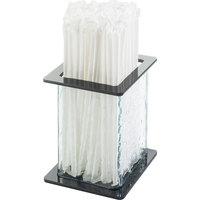 Cal-Mil 1228-4 Glacier Faux Glass Straw Holder - 4 3/4 inch x 4 3/4 inch x 5 1/2 inch