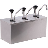 Carlisle 386230IB 3 Stainless Steel Pump Insulated Dispenser with 2 Ice Packs and Condiment Labels