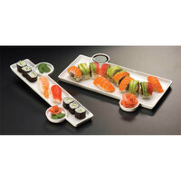 American Metalcraft Prestige PORS136 - 13 inch x 6 inch Porcelain Tray with Sauce Cups