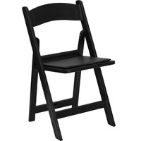 Flash Furniture LE-L-1-BLACK-GG Black Plastic Folding Chair with Padded Seat
