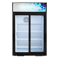 Avantco CSM-4-HC Black Countertop Display Refrigerator with Sliding Door and Merchandising Panel