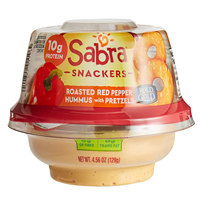 Sabra 4.56 oz. Roasted Red Pepper Hummus with Rold Gold Pretzels - 12/Case