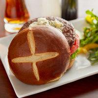 Wholesome Harvest 4 inch Sliced Pretzel Hamburger Bun 6 Count - 12/Case