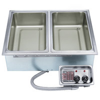 APW Wyott HFW-2D Insulated Two Pan Drop In Hot Food Well with Drain - 120V