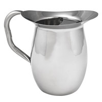 Choice 96 oz. Smooth Stainless Steel Bell Pitcher with Ice Guard