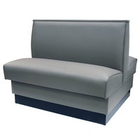 American Tables & Seating QAD-42-GUNMETAL 42 inch Gunmetal Plain Double Back Fully Upholstered Booth