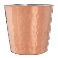 Choice 14 oz. Hammered Copper Stainless Steel Appetizer / French Fry Holder with Flat Top