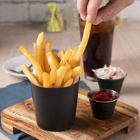 Choice 14 oz. Matte Black Stainless Steel Appetizer / French Fry Holder with Flat Top