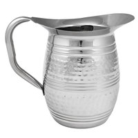 Choice 96 oz. Hammered Stainless Steel Bell Pitcher with Ice Guard