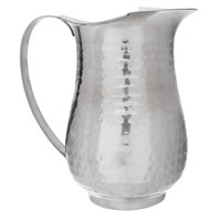 Choice 2 Qt. Hammered Stainless Steel Slender Bell Pitcher with Ice Guard