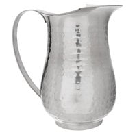 Choice 64 oz. Hammered Stainless Steel Slender Bell Pitcher with Ice Guard