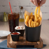 Choice 12 oz. Matte Black Stainless Steel Appetizer / French Fry Holder with Angled Top