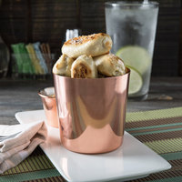 Choice 14 oz. Smooth Copper Stainless Steel Appetizer / French Fry Holder with Flat Top