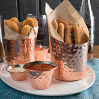 Choice 12 oz. Hammered Copper Stainless Steel Appetizer / French Fry Holder with Angled Top