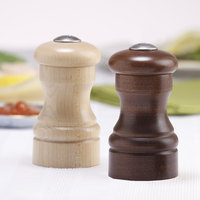 Chef Specialties 04256 Professional Series 4 inch Customizable Capstan Walnut Pepper Shaker and Natural Salt Shaker Set
