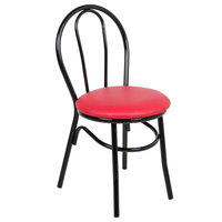 Lancaster Table &amp&#x3b; Seating Red Hairpin Cafe Chair with 1 1/4 inch Padded Seat