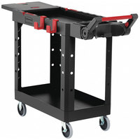 Rubbermaid 1997206 Black Adaptable Heavy-Duty Small Two Shelf Utility Cart - 46 3/16 inch x 17 13/16 inch x 36 inch