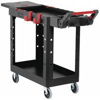 Rubbermaid 1997206 Black Adaptable Heavy-Duty Small Two Shelf Utility Cart - 46 3/16 inch x 17 13/16 inch x 36 inch