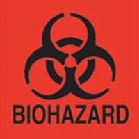 Rubbermaid FGBP1 6 inch x 6 inch Florescent Orange / Red Biohazard Label