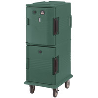 Cambro UPCHT8002192 Granite Green Ultra Camcart Two Compartment Heated Holding Pan Carrier with Casters, Top Compartment Heated - 220V (International Use Only)