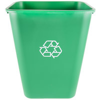 Continental 4114-2 41.25 Qt. / 10 Gallon Green Rectangular Recycling Wastebasket / Trash Can