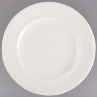 11 3/8 inch Ivory (American White) Embossed Rim China Plate - 12/Case