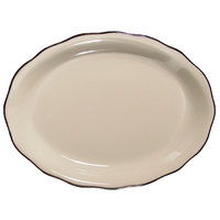 CAC SC-14B Seville 12 5/8 inch x 9 1/4 inch Ivory (American White) Scalloped Edge China Platter with Black Band - 12/Case