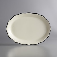 Choice 12 5/8 inch x 9 1/4 inch Ivory (American White) Scalloped Edge Stoneware Platter with Black Band - 12/Case
