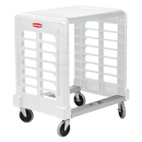 Rubbermaid FG331600OWHT ProServe Off White Max System Side Load Prep Cart with Cutting Board - 8 Slots