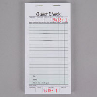 Adams 525SWMT 1-Part White / Green Guest Check Book with Receipt Stub   - 5/Pack