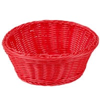 Tablecraft HM1175RD 8 1/4 inch x 3 1/4 inch Red Round Rattan Basket - 6/Pack
