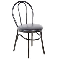 Lancaster Table &amp&#x3b; Seating Black Hairpin Cafe Chair with 1 1/4 inch Padded Seat