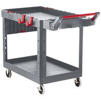 Rubbermaid 1997209 Gray Adaptable Heavy-Duty Medium Two Shelf Utility Cart - 51 1/2 inch x 25 3/16 inch x 36 inch