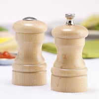 Chef Specialties 04300 Professional Series 4 inch Customizable Capstan Natural Maple Pepper Mill and Salt Shaker