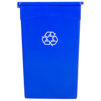 Continental 8322-1 23 Gallon Blue Wall Hugger / Slim Recycling Trash Can