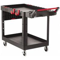 Rubbermaid 1997208 Black Adaptable Heavy-Duty Medium Two Shelf Utility Cart - 51 1/2 inch x 25 3/16 inch x 36 inch