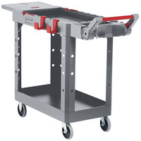 Rubbermaid 1997207 Gray Adaptable Heavy-Duty Small Two Shelf Utility Cart - 46 3/16 inch x 17 13/16 inch x 36 inch