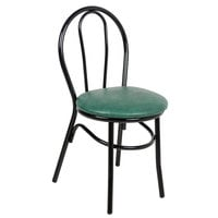 Lancaster Table &amp&#x3b; Seating Green Hairpin Cafe Chair with 1 1/4 inch Padded Seat